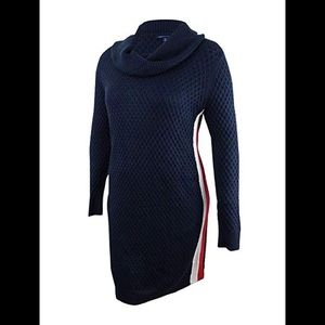 Tommy Hilfiger Honeycomb Cowl Neck Sweater Dress L